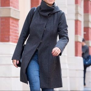 Betabrand Women's Gray Hooded All Day Coat Large